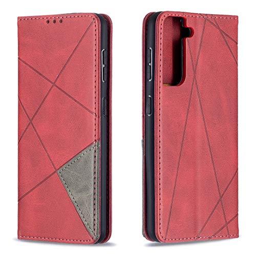 Coque pour Galaxy S21 Housse, Etui en Cuir PU Portefeuille Coque avec Fente Carte, Fermeture Magnétique und Flip Béquille pour Galaxy S21 - JEBF090340 Rouge