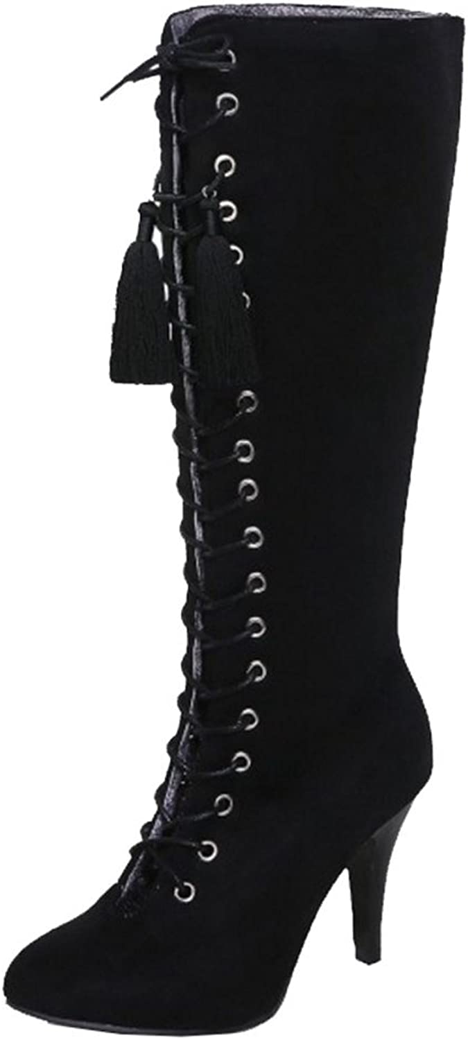 SJJH Knee-High Boots with Lace Up and Kitten Heel Beautiful Boots with Large for All Parties Black