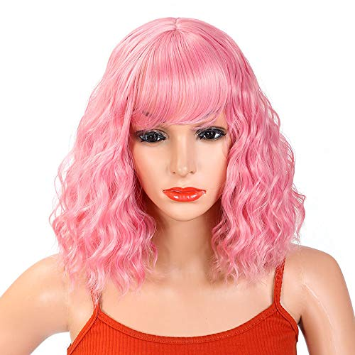 Pastel Pink Wig, Short Wavy Bob Wig Women Shoulder Length Curly Wig Synthetic Hair Suitable for Cosplay Party/Halloween (12 inch Pink)