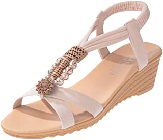 Women Open Toe Wedge Shoes Sandals, Ladies Solid Soft Bottom Summer Flats Sandals Casual Shoes