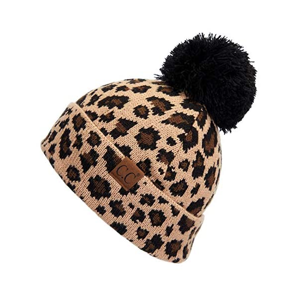 C.C Exclusives Solid Ribbed Color Beanie hat with Leopard Pattern Cuff (HAT-80) (Leopard)
