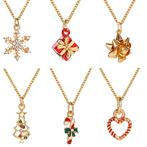 yfstyle 6 Pcs Christmas Necklace for Women Girls Christmas Tree Snowflake Heart Gift Box Pendant Crystal Necklace for Winter Sweater Thanksgiving Day Christmas Eve Gifts Pack of 6 Pcs