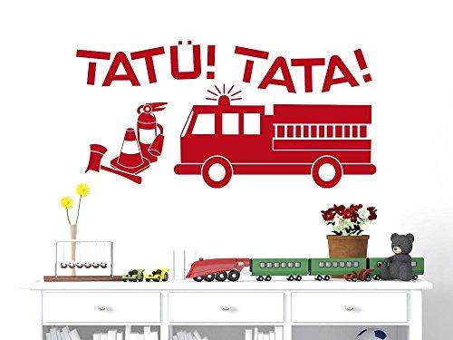 GRAZDesign Wandtattoo Kinderzimmer Junge Feuerwehr - Wandtatoo Kinder Babyzimmer Feuerwehrauto - Wandaufkleber Klebefolie Jungs Tatü Tata / 61x30cm / 822 Water Lilly