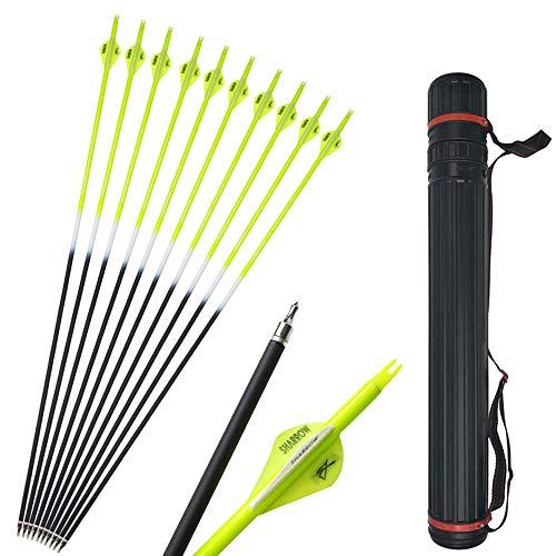 SHARROW 12pcs Flechas de Carbono 30 Pulgadas Spine 500 para Arco Compuesto Recurvo Flechas de Caza