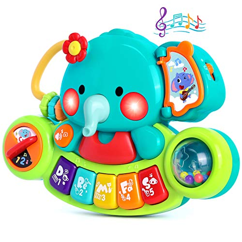 Baby Music Toys Elephant Piano Keyboard Toys for Kids Learning Educational Toys for Infant 6 9 12 18 24 Months Light UP Baby Piano Toys Gift Toys for 1 2 3 Year Old Toddlers Baby Boys Girls Toys