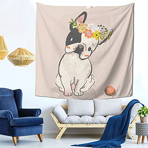 Hand Drawn French Bulldog print Tapestry Wall Hangings, Bedroom Wall Hangings, Tapestries Living Room Dormitory Decoration, Curtains Picnic Mats, 59x59 Inches