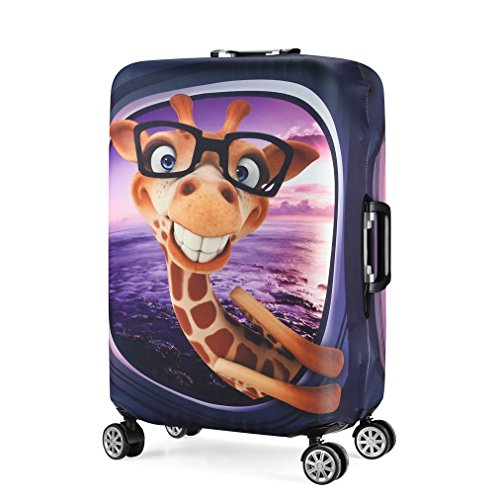 Water Resistant Print Trolley Case Protective Cover for 19/20/21 Luggage Spandex Washable Travel Suitcase Protector Cover S Giraffe