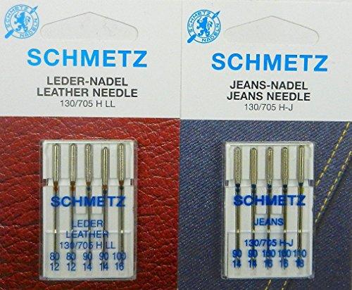 Schmetz 130 705 - Set di 10 aghi per macchina da cucire, per pelle e jeans
