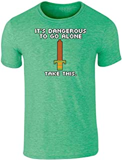 It's Dangerous to Go Alone Take This 8 Bit Gaming Graphic Tee T-Shirt for Men