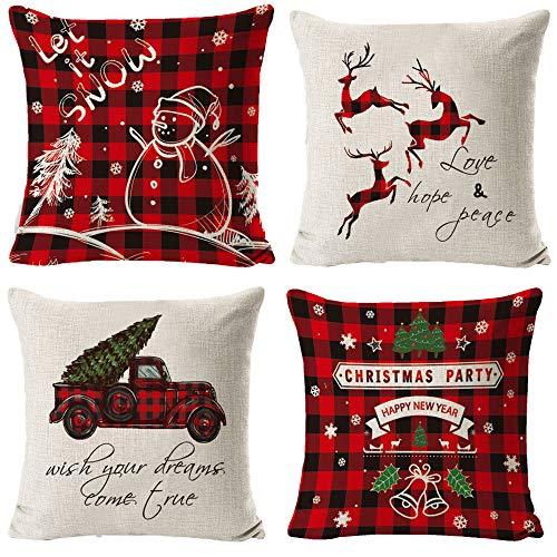 HIQE-FL 4 Stück Leinen Dekokissen,Kissenbezug Weihnachten 45x45,Dekorative Kissenhülle,Kissenhülle Weihnachten,Weihnachten Kissenbezug Rehntier,Kissenbezug Weihnachtsmotiv
