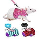 EPRHY - Pettorina e guinzaglio per animali domestici di piccola taglia con grazioso fiocco, per conigli, furetti, porcellini d'India, coniglio, criceto, gattino, accessorio per vestiti