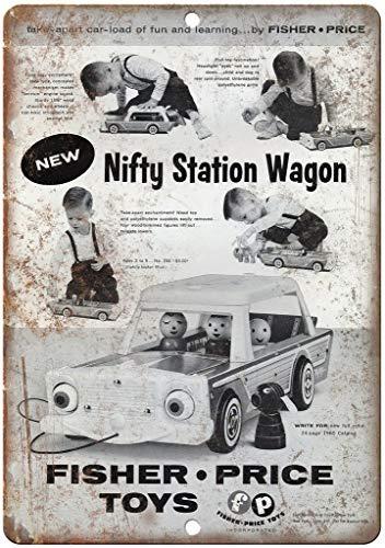 Fisher Price Toys Nifty Station Wagon Cartel de Chapa Retro, Cartel de...