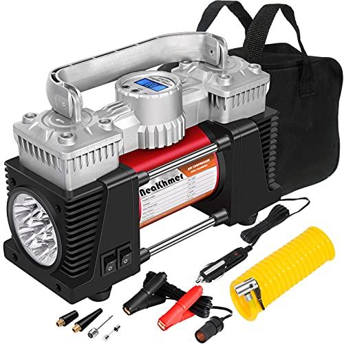 Heavy Duty Digital Air Compressor, Dual Power 150PSI Fast Tire Inflator for Large Car Tires, 12V 26Ft Portable Air Pump, Tire Pump with Pressure Gauge, Auto-Off Tire Inflator for RVs, SUVs Offroads