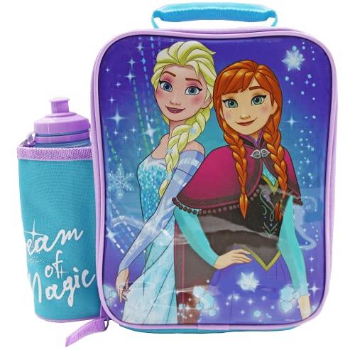 DISNEY FROZEN Set Lunch Box Bag con Borraccia, Contenitore Alimenti per bambini, Borsa Termica Porta Pranzo Merenda