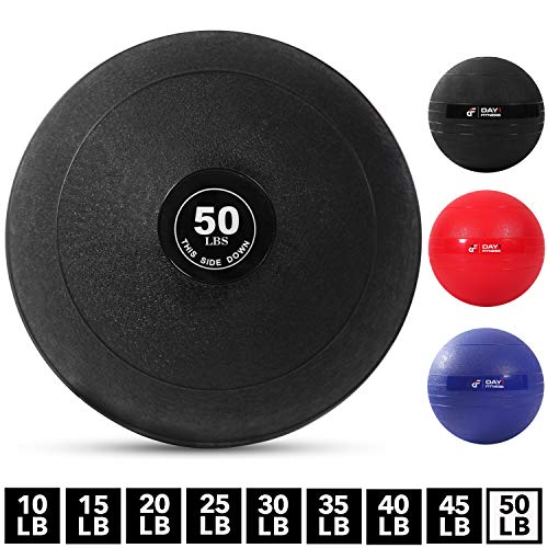 Weighted Slam Ball by Day 1 Fitness – 50 lbs - No Bounce Medicine Ball - Gym Equipment Accessories for High Intensity Exercise, Functional Strength Training, Cardio, CrossFit