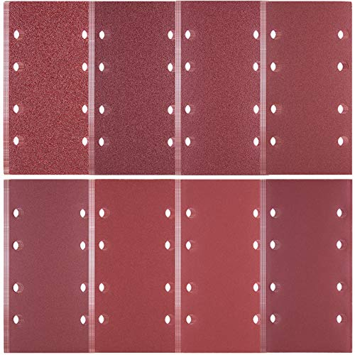 SIQUK 40 Stück Schleifpapier Set 8 Löcher Schleifblätter mit Körnung 40/60/ 80/120/ 180/240/ 320/400, 93 x 185 mm