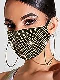 Handcess Máscara de Malla de Cristal Brillante con Purpurina y Diamantes de imitación para Baile de máscaras, máscaras faciales para Discoteca, Accesorio de Disfraz de Genio de Halloween (Oro)