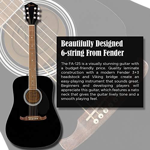Fender FA-125 Dreadnought Guitarra Acústica - Diapasón de Nuez - Negro