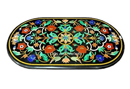 Mesa de comedor con incrustaciones de mármol negro de 60 x 100 cm con diseño floral de arte vintage