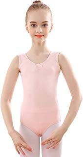 Bezioner Girls' Sleeveless Leotard Ballet Dance Leotard V-Neck Cotton Tank Leotard Dance Gymnastics Costume