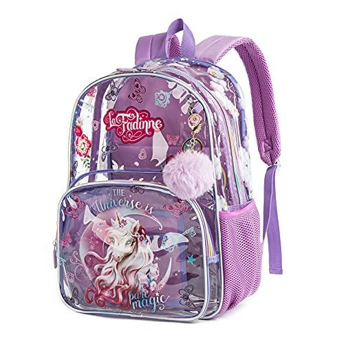 Mochila para niños Mochila Escolar Mochila de Viaje Impermeable Transparente para niñas Unicornio Morado