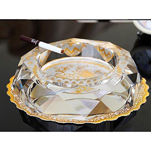 Rollsnownow Transparent couleur créative cristal en cendrier Diamètre extérieur 20 * 20 * 4 cm, diamètre intérieur 13 * 13 * 2.5 cm