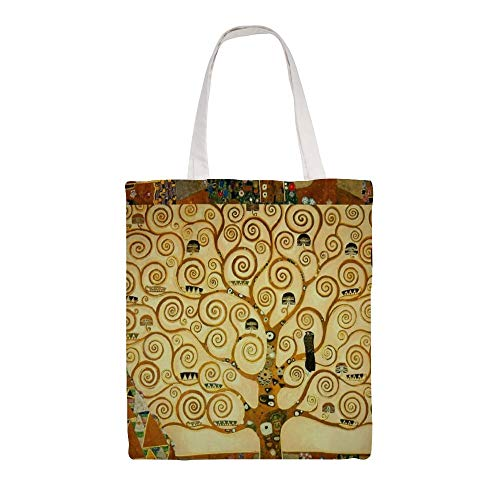 Cotton Canvas Tote Bag, Gustav Klimt The Tree of Life Shoulder Grocery Shopping Bags Cloth Shopping Bag, 14