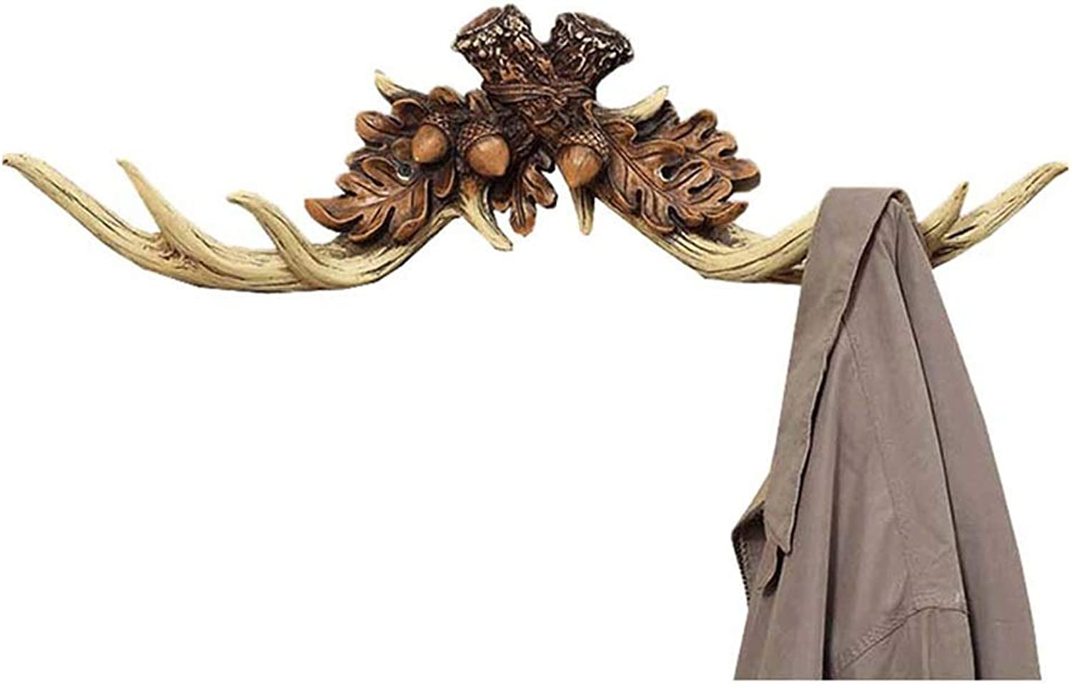 GX Resin Antlers Clothes Hook,Vintage Wall Hanging Wall Decoration Coat Rack (Size   51  12  8cm)
