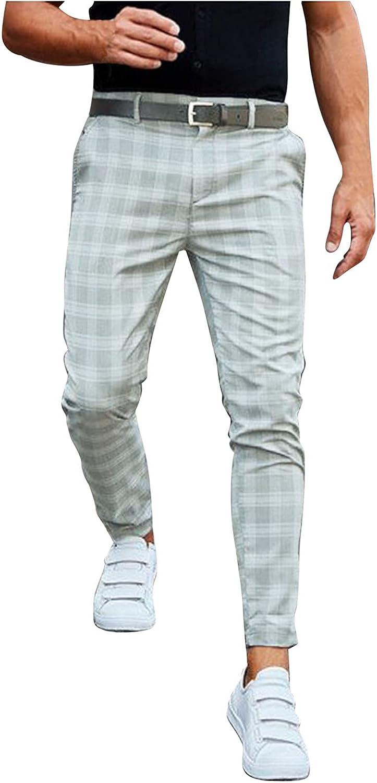 Huangse Men's Chino Pants Slim Fit Plaid Flat-Front Stretch Slim Stylish Casual Business Dress Pants