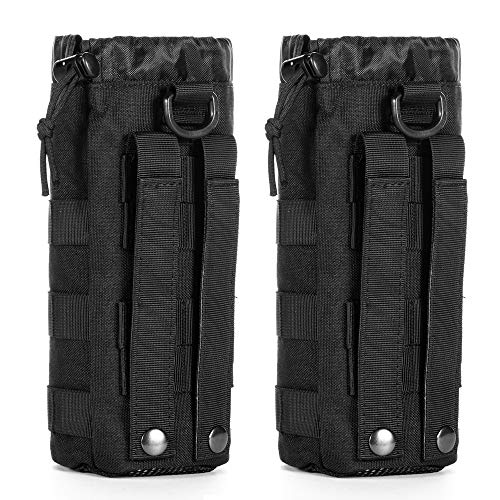 Upgraded Sports Water Bottles Pouch Bag, Tactical Drawstring Molle Water Bottle Holder Tactical Pouches, Travel Mesh Water Bottle Bag Tactical Hydration Carrier (Black-2 Pack)