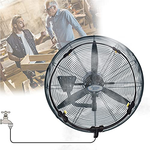 BLLJQ Ventilador Montaje Pared, Sistema Nebulización Ventiladores Pared Industriales, Configuraciones 3 Velocidades, Aspas Aluminio, Bajo Ruido, para Taller y Muelle Carga,26 Inch Single Speed