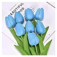 造花 インテリ チューリップ造花ピンクゴールドホワイトPUリアルタッチホームガーデン装飾偽ラテックスブーケ結婚式の使用 フラワーアレンジメント・観葉植物 (Color : Sky blue, Size : 10pcs-1)