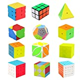 HJXDtech Speed Magic Cube Set, 2x2 3x3 4x4 Rueda de Espejo Cube Pyramid Cube 2x2x3 Cube Megaminx Dodecahedron Cube Skewb y Leaf Cube Puzzle Paquete (Paquete de 12) (12)