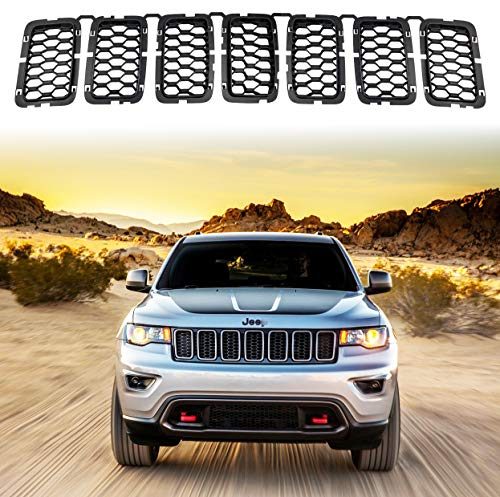 YAV Latest Honeycomb Mesh Black Grill Inserts for Jeep Grand Cherokee 2017, 2018, 2019, 2020, 2021 Front Grille Inserts Cover Accessories 7PC
