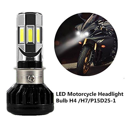Fezz Led-koplamp, voor motorfiets, 35 W, H4, H7, P15D25-1, voorlamp met ventilator, koeling, 6 leds, Hi Lo Beam, 3500 lm, 6000 K