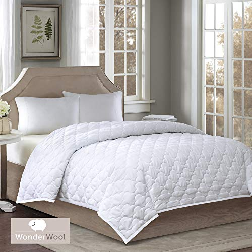 Sleep Philosophy Wonder 300 Thread Count TC Cotton Sateen Double Insertion Wool Blended Bed Blanket, King, White