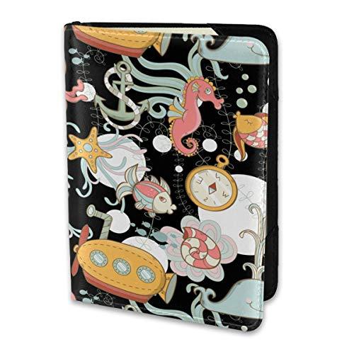 Funda de piel para pasaporte, diseño de mariposa, color verde, Caballito de mar y ancla, Una talla