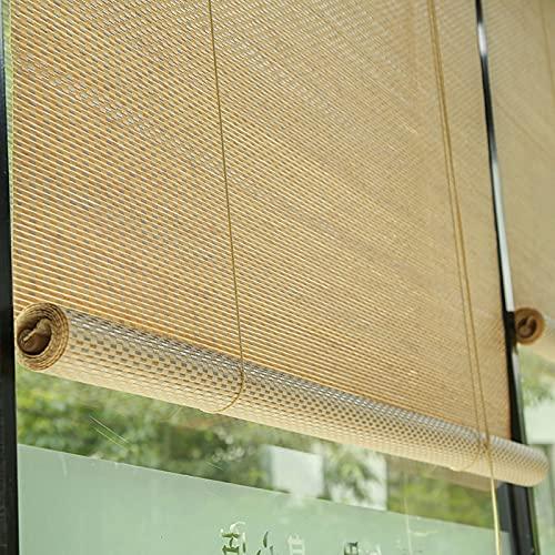 persianas enrollables Cortinas Enrollables con Filtro de Luz de Bambú, Cortinas Enrollables de Ventilación Natural Transpirable con 80% de Protección Solar, para Mamparas/Toldos/Pabellón Exterior