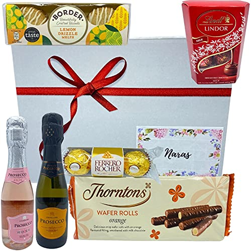 Variety of Prosecco Gift Set -1x Prosecco Rose Wine, 1x Prosecco Fruit Wine, Chocolates, Biscuits and Wafer Rolls - Alcohol Gift Hampers for Couples, Presents for Men and Women on Any Occasion