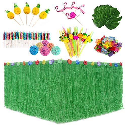 Migaven 87Pcs Juego de decoraciones de Mesa de Fiesta Tropical Falda de Mesa Verde Hawaiana y Hojas de Palmera Artificiales Flores Palillos de Dientes Pajitas Suministros