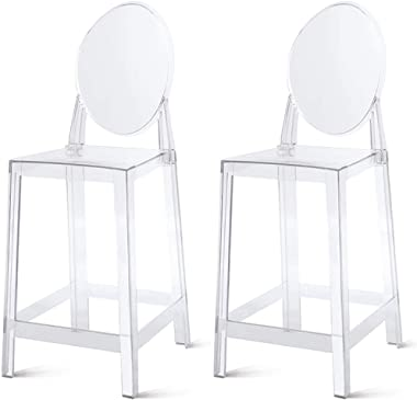 "2xhome - Set of 2 25"" Seat Height Barstool Modern Ghost Chair Ghost Stool Black Side Bar Stool Counter Stool Accent Stool"