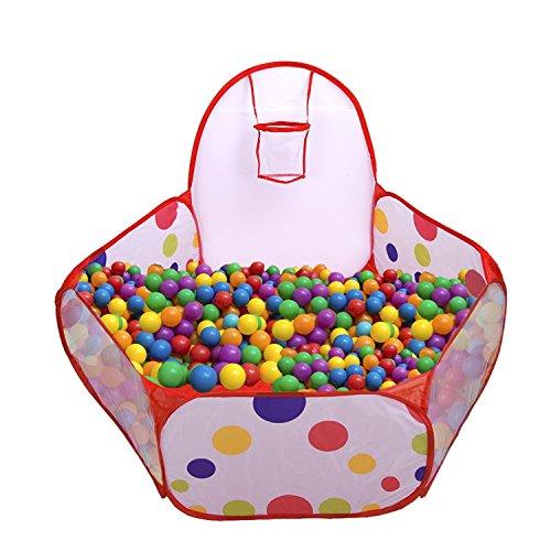 XCSSKG Parque infantil para jugar con pelota de playa, piscina con mini aro de baloncesto y bolsa de almacenamiento con cremallera, 120 cm, bolas no incluidas
