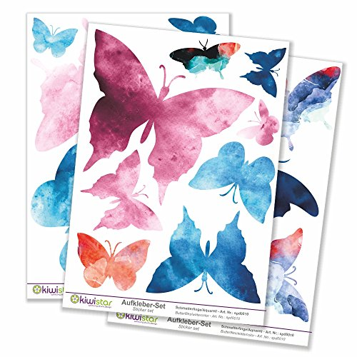 Kiwi Star Papillons Aquarelle, 21 Papillons, 3 Feuilles, Autocollants de décoration Murale Arc Stickers Couleur Surface Totale :, Bogengröße_A1 ca. 80x60cm