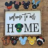 Mi-ckeys Welcome to Our Home Interchangeable Icons Sign, Interchangeable Mouse Head Home Sign/Gift Door Hanger Sign for Front Door Home Decor Signs (B)