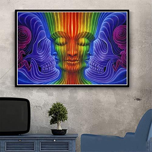 Alex Grey psychodeliczne drzewo trippy Diy 5D diamentowe malowanie pełny zestaw diamentowy cyfrowy kryształowy haft ze strasem rzemiosło artystyczne rysunek prezent (kwadrat 40x60cm)