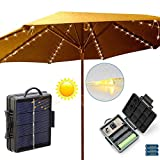 Patio Umbrella Lights String Solar or Battery Powered, 8 Light Modes, Auto On/Off