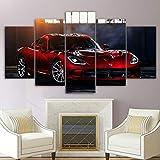 DBFHC Cuadros Modernos Impresión De Imagen Artística Digitalizada Supercar Rojo Dodg Viper SRT Lienzo Decorativo para Salón O Dormitorio 5 Piezas XXL