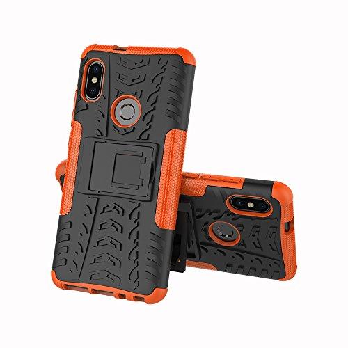 JMstore Cover Compatibile con Xiaomi Mi A2/Mi 6X SchermoVetro temperato,[Staffa] Custodia in Silicone Misto Doppio (Arancione)
