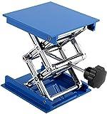 Ymiko Piattaforme elevatrici Lab Jack 100 x 100mm Piattaforma elevatrice da Laboratorio in Alluminio elettroplaccato Blu Supporto a Forbice Sollevatore a Forbice