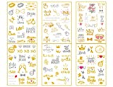 Bachelorette Party Tattoos - 6-Sheet Temporary Bride Tribe Tattoo Set - 115 Unique Design, Stylish Flash Gold & Metallic Tattoos for Bride, Maid Of Honor, Bridal Shower Favor And Decorations